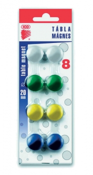 Magnet barevný ICO 20mm, 8 ks blistr