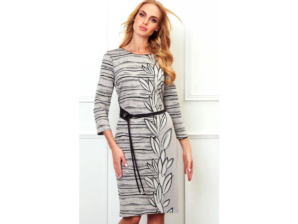 f728056ec9e7 Pouzdrové úpletové šaty s černobílým melírováním. Velikost 42 - 50. Kód K721