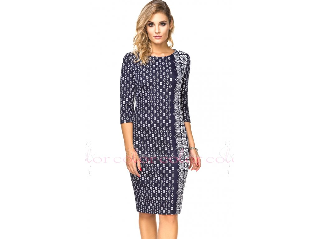 77234bb0a48 Zeštíhlující modré šaty s rukávem - Noel boutique