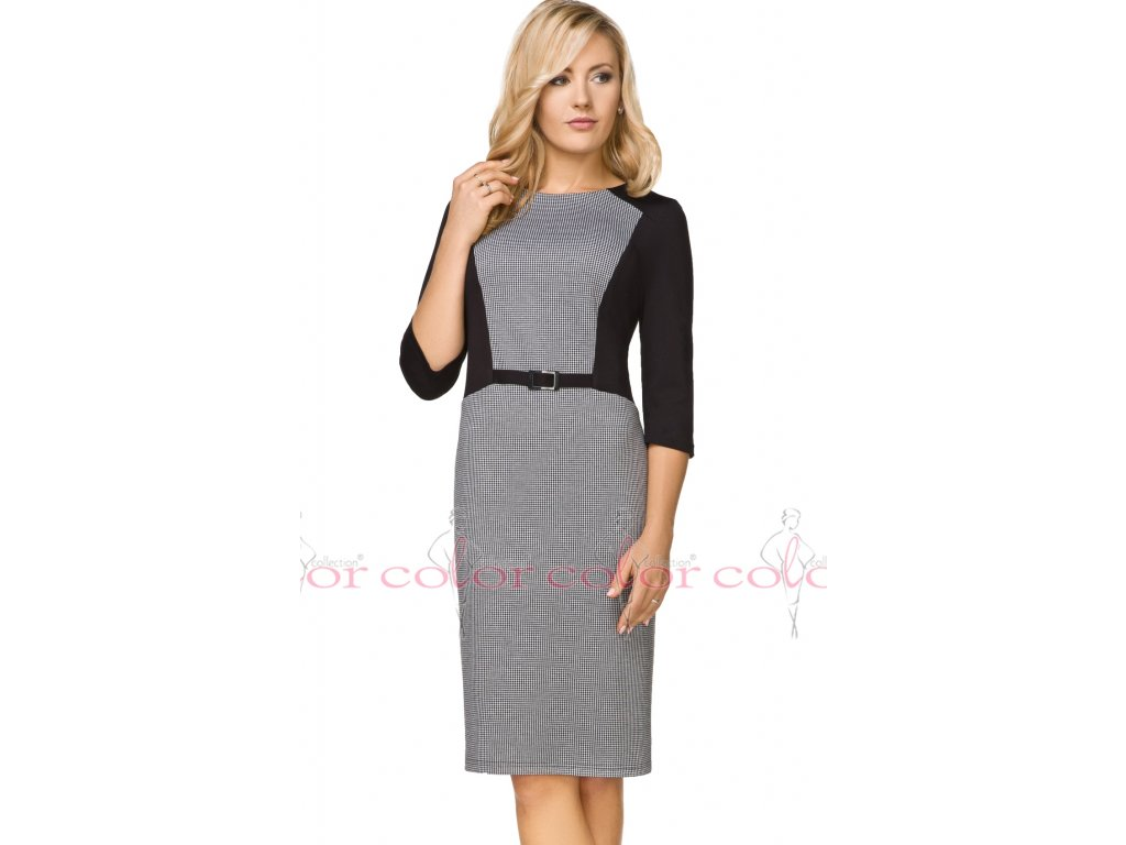 Zeštíhlující dámské šaty černobílé - Noel boutique deeea445368
