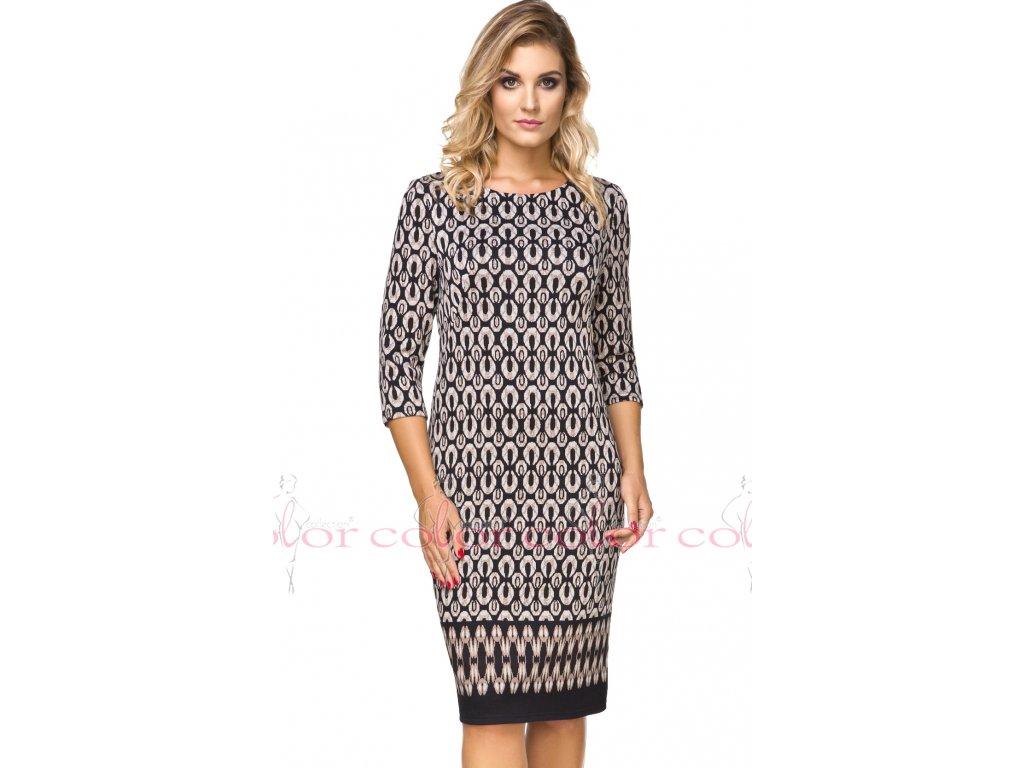 Dámské vzorované šaty s lodičkovým výstřihem - Noel boutique a76cdf86adf