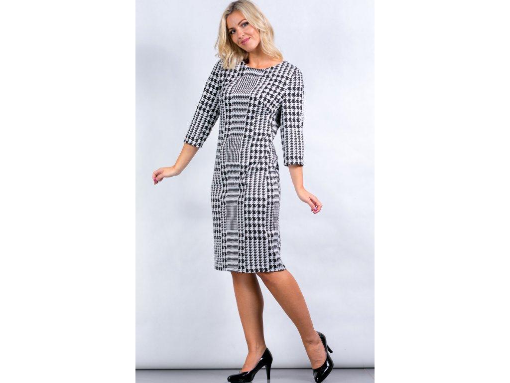 Dámské černobílé šaty s 3 4 rukávem - Noel boutique b5147161149