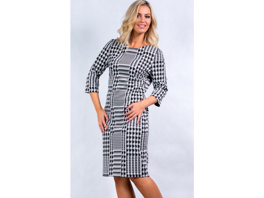 b9b9f9345af Dámské černobílé šaty s 3 4 rukávem - Noel boutique