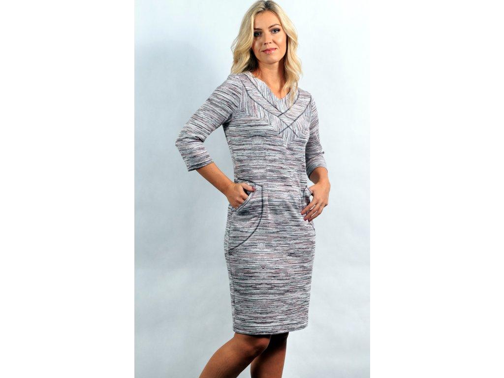Dámské úpletové béžové šaty - Noel boutique f56ea420d1