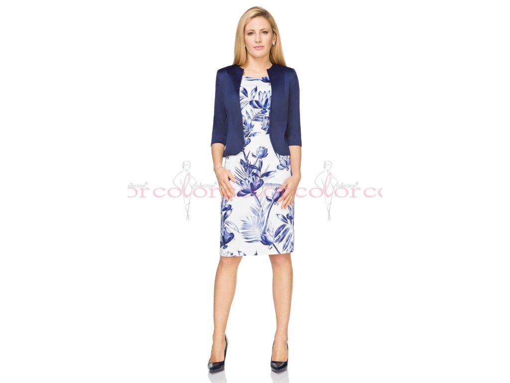 Bílé pouzdrové šaty ke kolenům s modrým bolerkem pro svatební matku.  Velikost 40 - 50. Kód J605 6b23bdbaf2