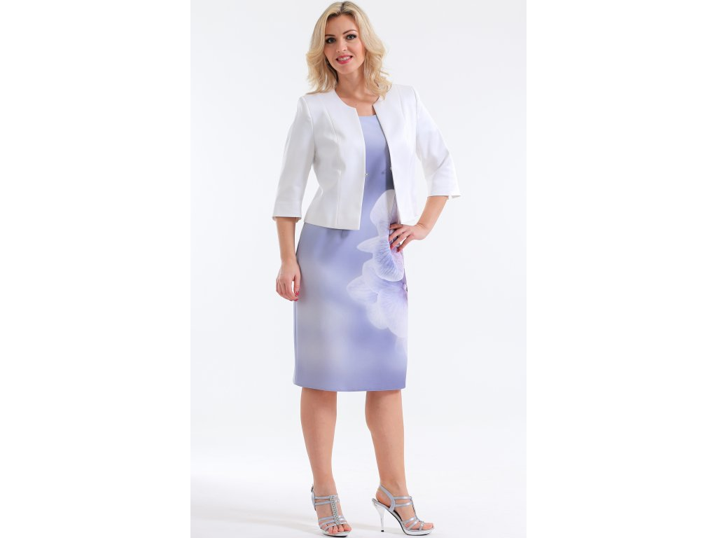 Dámské světle šedé pouzdrové šaty s bolerkem - Noel boutique e0baae5d4b