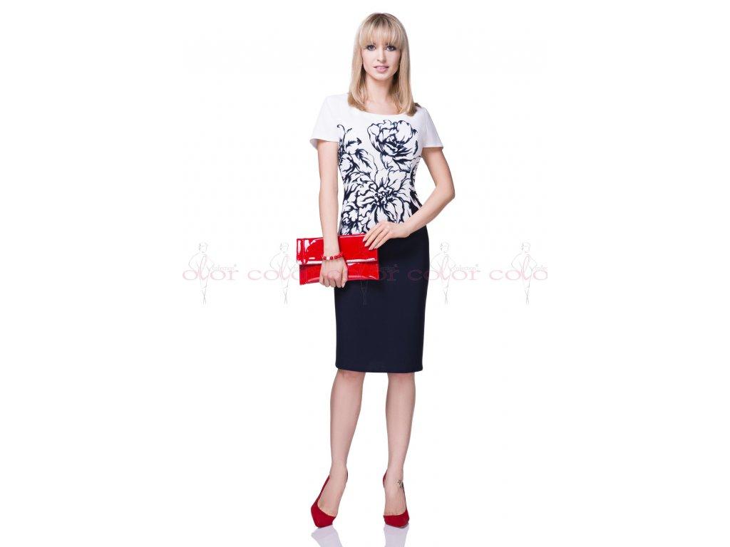 e56087f38a48 Tmavě modré dámské šaty s bílým kabátkem - Noel boutique