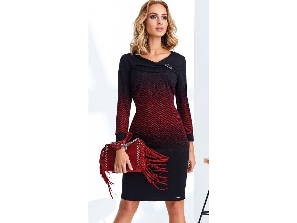 Dámské černé pouzdrové šaty s červeným vzorem. Velikost 42 - 50 3e67ee1d2b