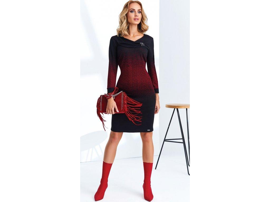 b2251fe6f80 Zeštíhlující dámské úpletové šaty s rukávem - Noel boutique