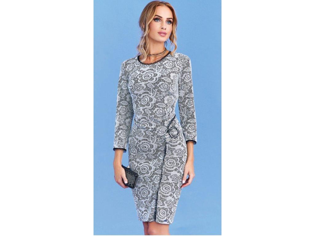 94dac481223 Šedé pouzdrové šaty se vzorem i pro plnoštíhlé. Velikost 42 - 50