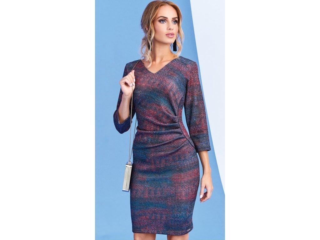 09284b6310e Dámské šaty červenošedé s 3 4 rukávem. Velikost 42 - 50