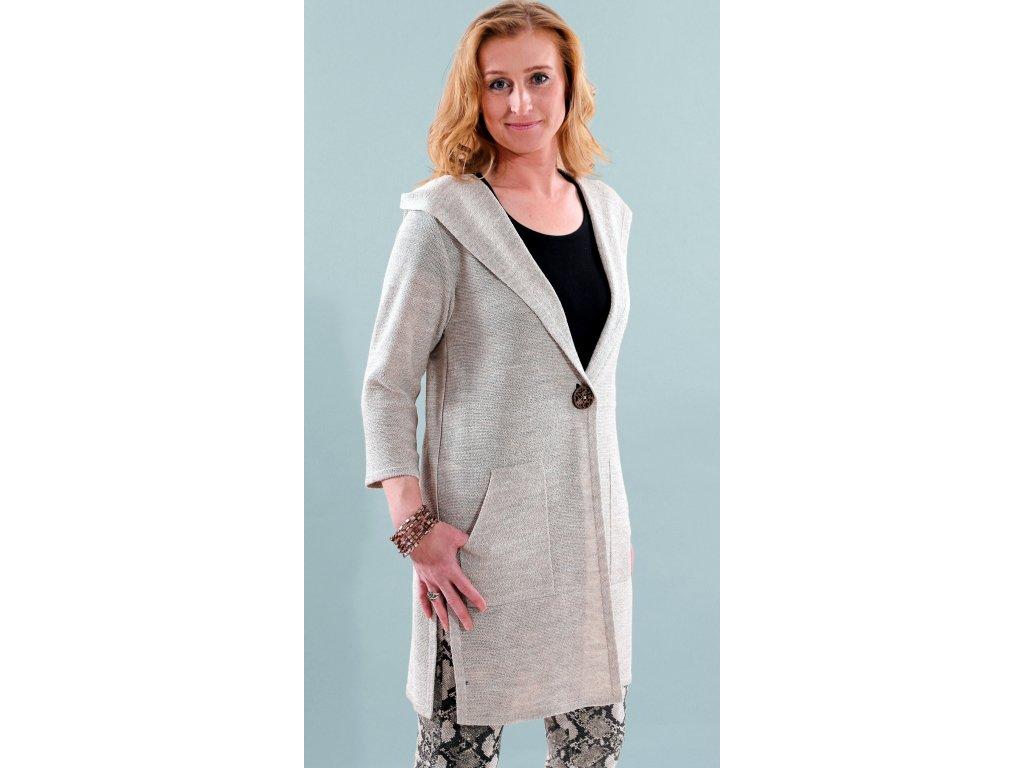 Dámský jarní lněný plášť s kapucí i pro plnoštíhlé - Noel boutique 6be0778d5f