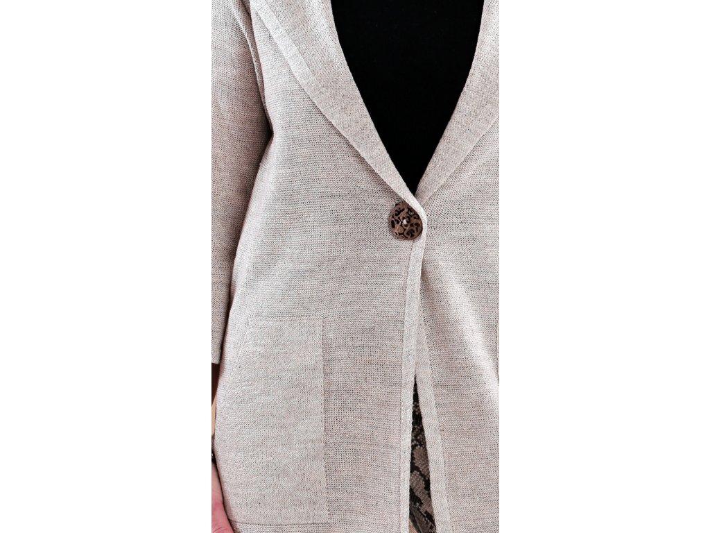 Dlouhý úpletový plášť v přírodní lněné barvě. Velikost M - XXL Kód F23359 d0def8e176