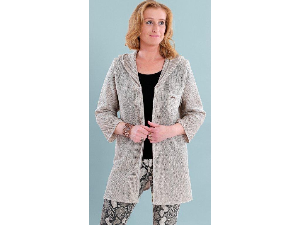 Dlouhý jarní lněný svetr s kapucí i pro plnoštíhlé - Noel boutique 6330380fcb