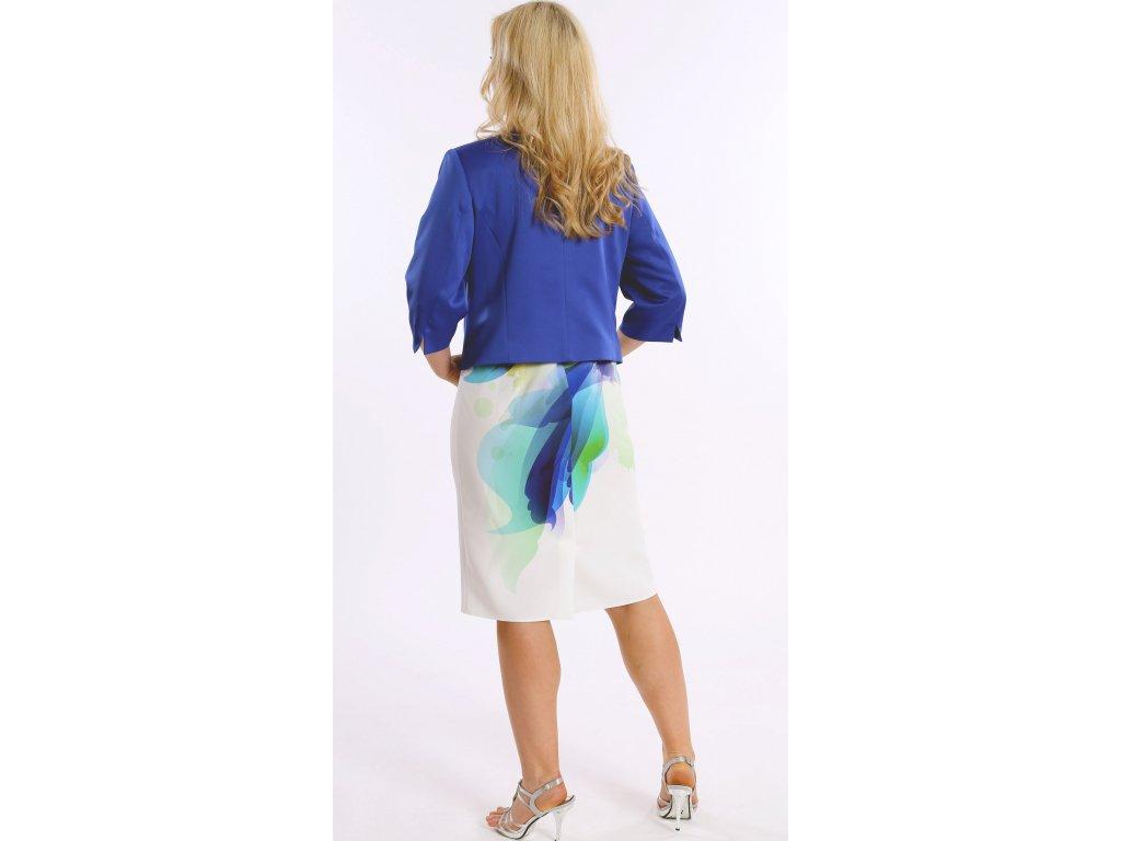 5b3bc04a4 Dámské bílé společenské šaty s modrým sakem - Noel boutique