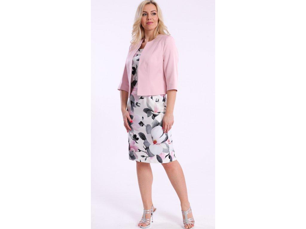 8598b77d2ca8 Bílé dámské pouzdrové šaty s růžovým sakem - Noel boutique