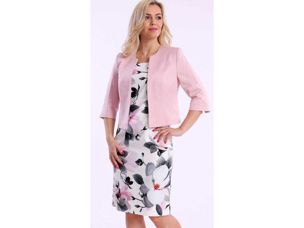 2f2b80e632fc Šaty s růžovými květy a bolerkem i pro plnoštíhlé. Velikost 40 - 50