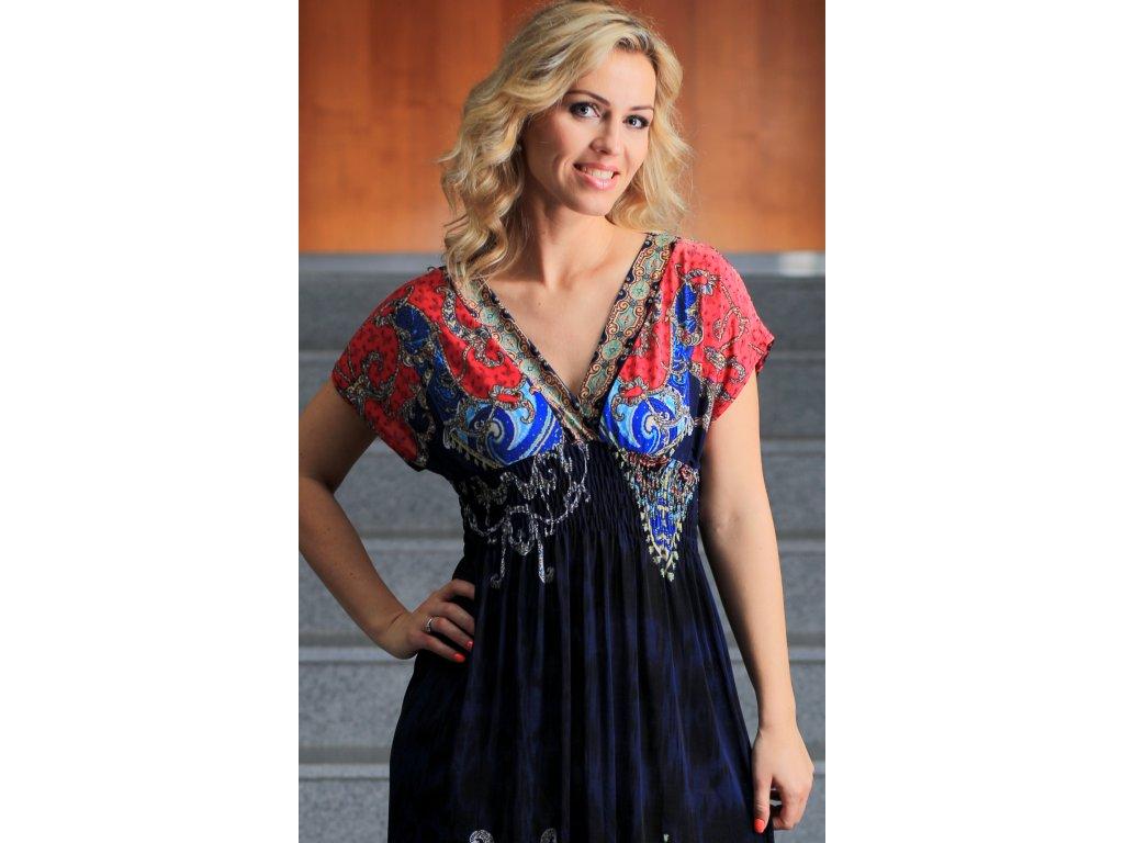 Dlouhé letní šaty s orientálním vzorem - Noel boutique ac0002efe6