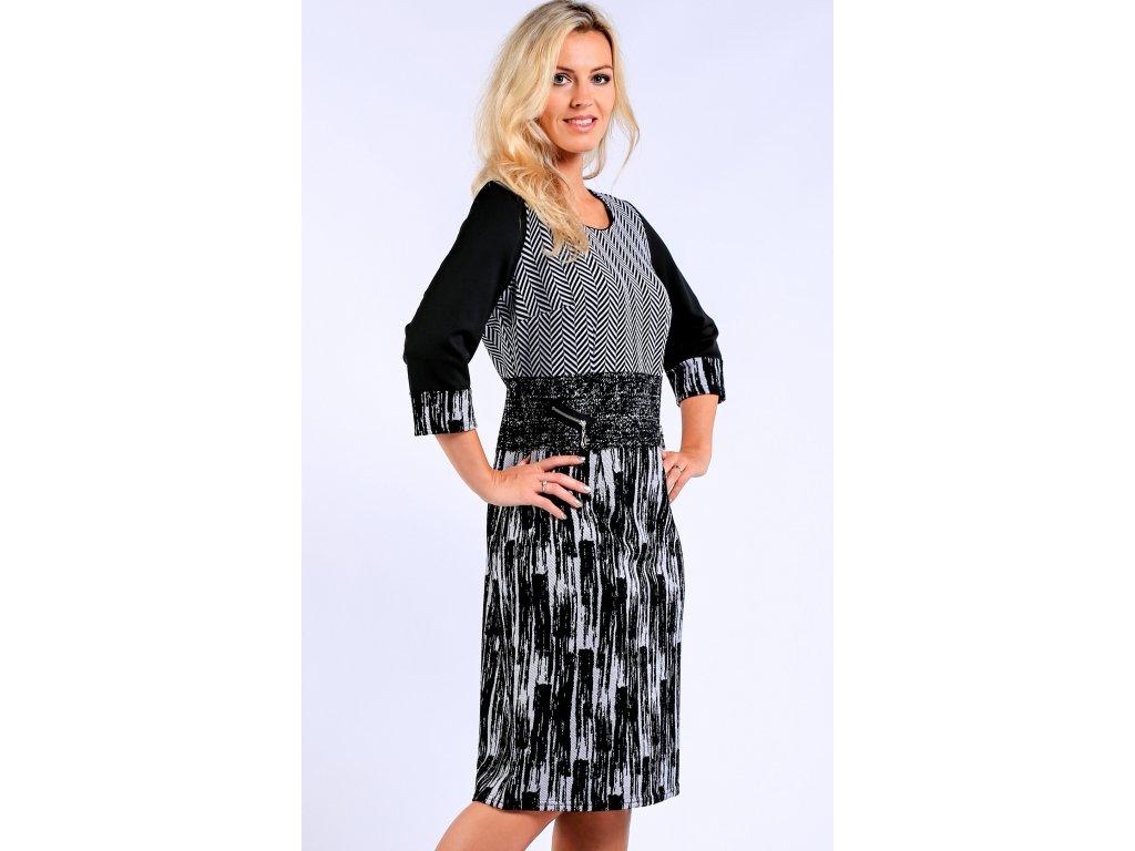 Černobílé dámské pouzdrové šaty - Noel boutique 5ebf4b87dc3