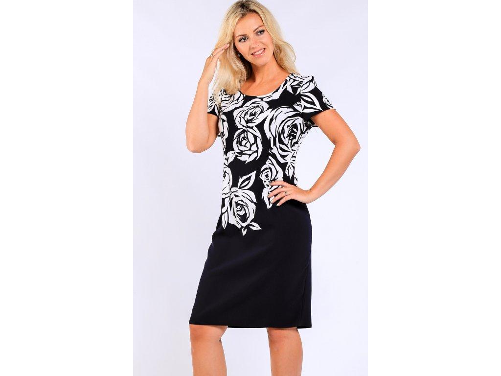 b03e8eed9ed Modrobílé šaty s krátkým rukávem - Noel boutique