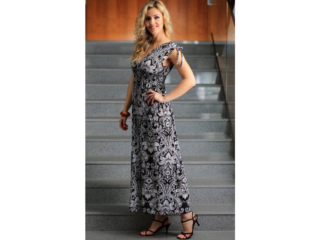 Dámské letní dlouhé šaty černobílé - Noel boutique eec2d34b45