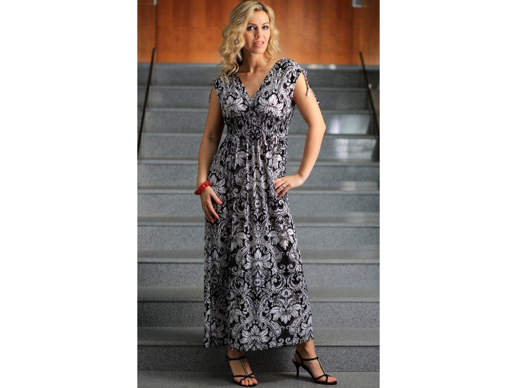 Dámské letní dlouhé šaty černobílé - Noel boutique 8432db013e8