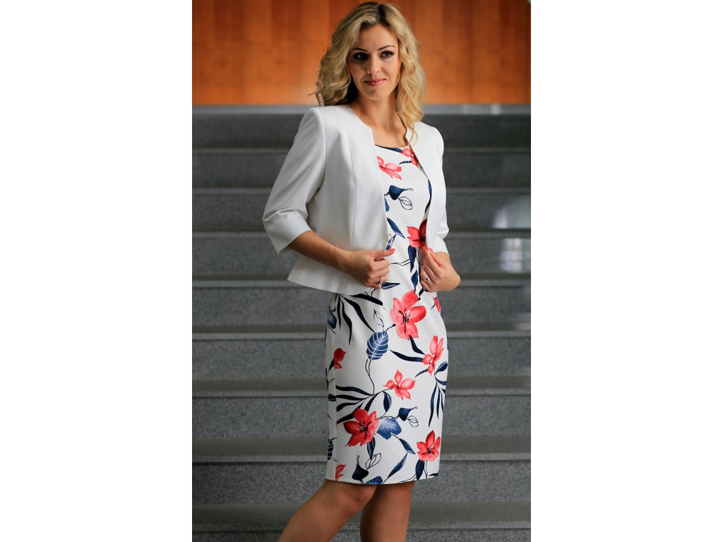 Dámské červené šaty s bílým bolerkem - Noel boutique 10d8160c10
