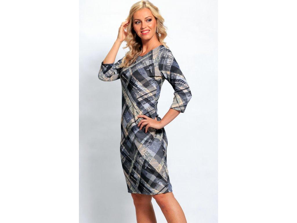 20aa9b0a3e3 Dámské modré kárované šaty s rukávem - Noel boutique