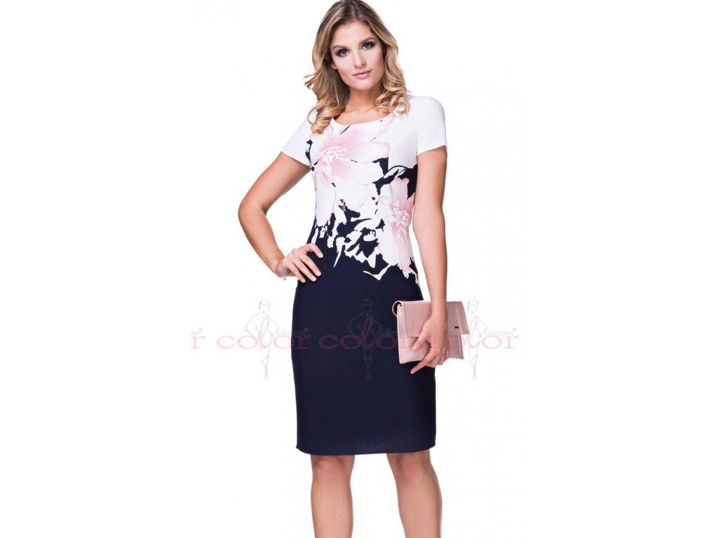 Modré pouzdrové šaty s růžovým vzorem i pro plnoštíhlé. Velikost 40 - 50.  Kód L234 98ca4fe6bf