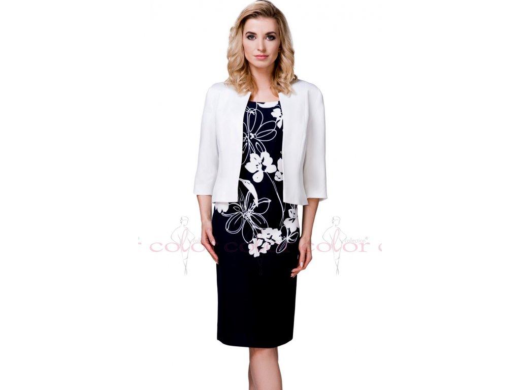 f7803396d000 Modré šaty s bílým kabátkem - Noel boutique