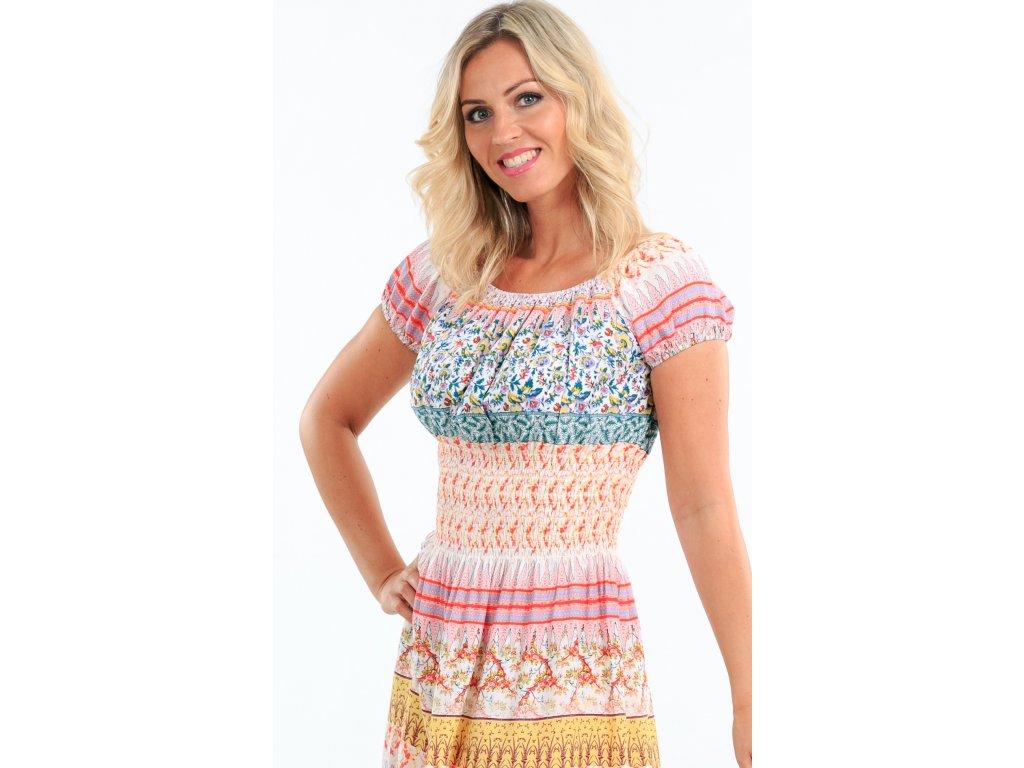 Dlouhé letní šaty s rukávky růžové - Noel boutique 2232989ef6