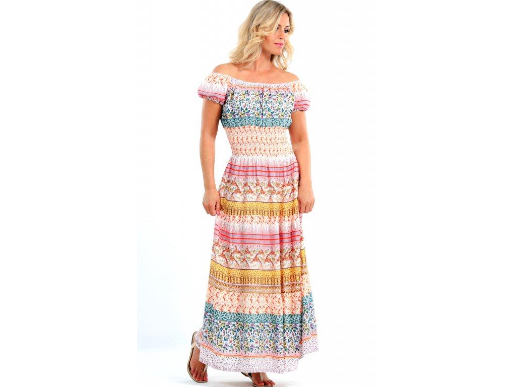 22cab1e1d34 Dlouhé letní šaty s rukávky růžové - Noel boutique