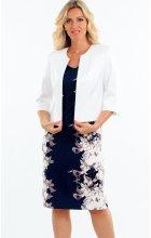 Dámské zeštíhlující šaty s bílým bolerkem