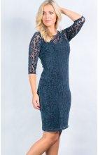 Modré krajkové šaty pro plnoštíhlé