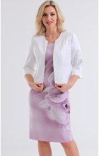 Dámský komplet růžové šaty s bolerkem