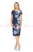 Dámské modré letní pouzdrové šaty