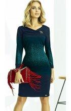 Tmavě modré zeštíhlující úpletové šaty s rukávem