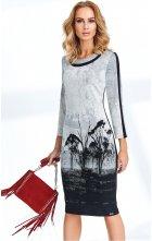Elegantní světlé dámské pouzdrové šaty