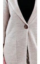 Dámský jarní lněný plášť s kapucí i pro plnoštíhlé