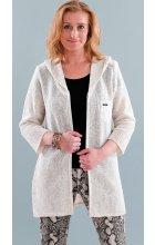 Dlouhý jarní lněný béžový svetr s kapucí