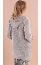 Dlouhý jarní lněný svetr s kapucí i pro plnoštíhlé