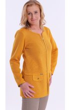 Dámské okrově žluté sako i pro plnoštíhlé