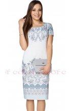 Bílé dámské šaty s ornamentálním vzorem