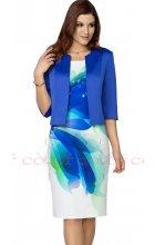 Dámské bílé společenské šaty s modrým sakem
