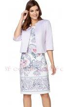 Dámský komplet šaty s fialkovým bolerkem