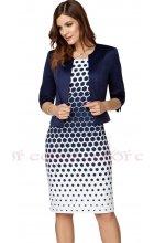 Modrobílé zeštíhlující šaty s modrým sakem