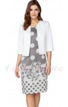 Dámské šedé šaty s puntíky a bílým sakem
