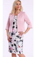 Bílé dámské pouzdrové šaty s růžovým sakem