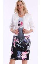 Dámské barevné letní šaty s bílým sakem