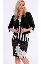 Černobílé dámské letní šaty s černým sakem